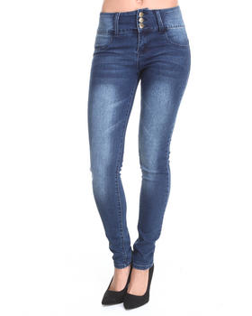 Basic Essentials - Lola High Waisted 3-Button Skinny Jean