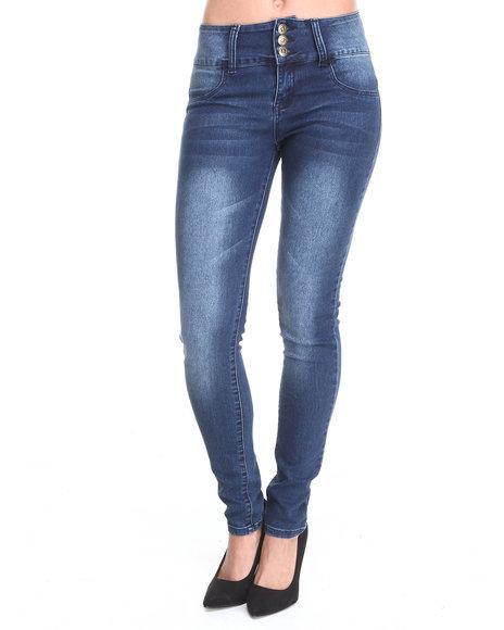 Basic Essentials - Women Dark Wash Lola High Waisted 3-Button Skinny Jean - $20.99