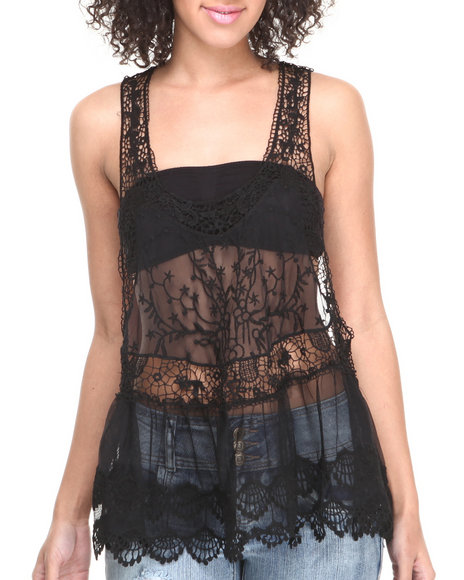 Fashion Lab - Women Black Crochet Sleevless Embroidery Tank - $12.99