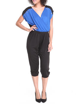 Apple Bottoms - Colorblock Studded Trim Jumpsuit