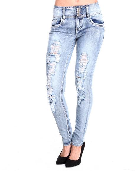 Fashion Lab - Women Light Wash The Destroy High Waisted Acid Skinny Jeans