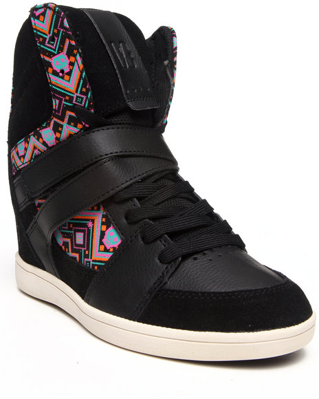 DC Shoes Black Mirage Mid Wedge Sneakers