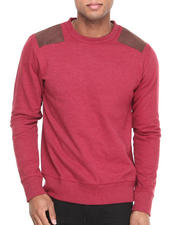 Men - Solid Patched Crewneck Sweatshirt