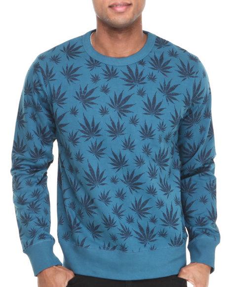Waimea Navy Weed Leaf Crewneck Sweatshirt