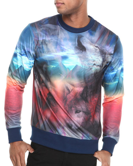 Waimea - Men Multi Wolf Crewneck Sweatshirt