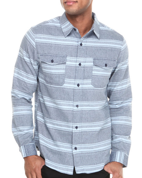 Waimea Blue Ocean Herringbone Button-Down