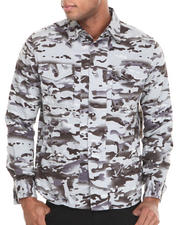 Men - Camo On Herringbone Button-Down