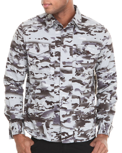 Waimea Grey Camo On Herringbone Button-Down