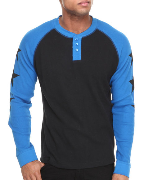 Waimea Black Star Raglan Thermal Henley
