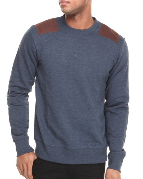 Waimea Navy Solid Patched Crewneck Sweatshirt
