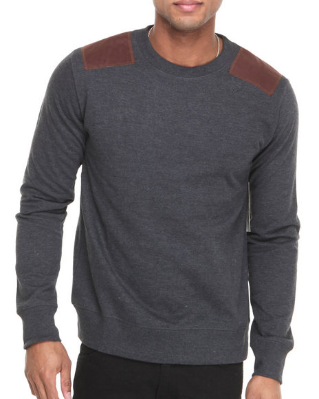 Waimea Charcoal Solid Patched Crewneck Sweatshirt