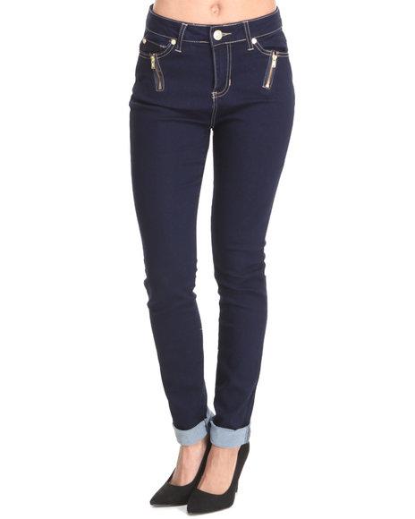 Baby Phat - Women Indigo Zipper Trim Pockets Skinny Jean