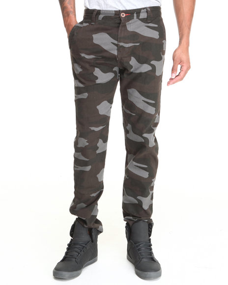 Waimea - Men Charcoal Camo Flat - Front Printed Pants