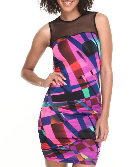 Baby Phat - Women Multi Fabric Mixed Sleeveless Dress