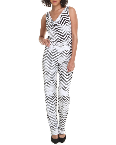 Baby Phat - Women Black, White Mesh Back Jumpsuit