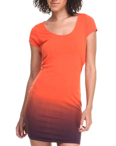 Baby Phat - Women Orange Ombre Effect Zip Open Back Dress