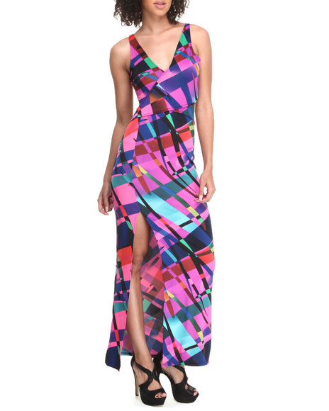 Baby Phat - Women Multi Sexy Back Geo Print Maxi Dress