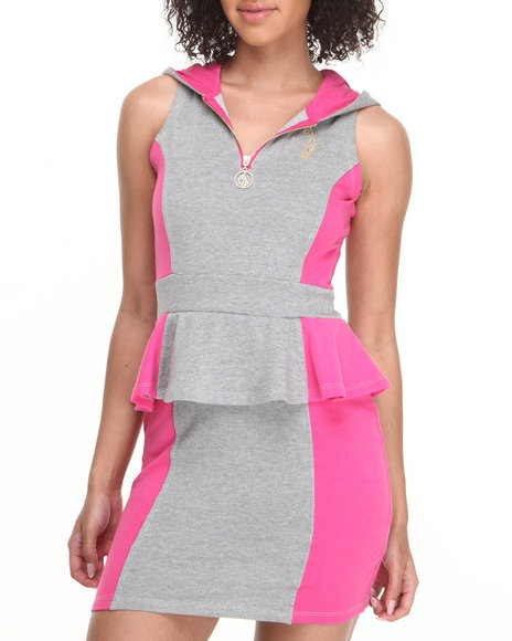Baby Phat - Women Grey,Pink Mod Colorblock Hooded Dress
