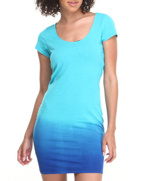 Baby Phat - Women Blue Ombre Effect Zip Open Back Dress
