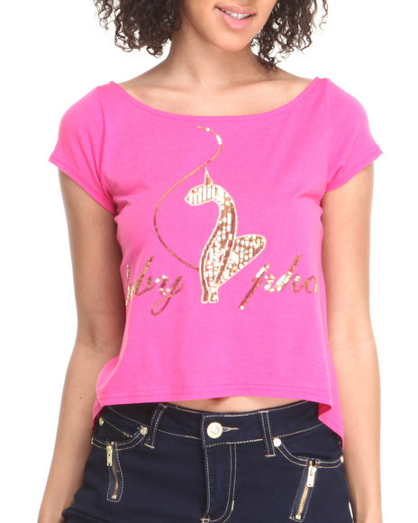 Baby Phat - Women Pink Back Zipper Cropped Top