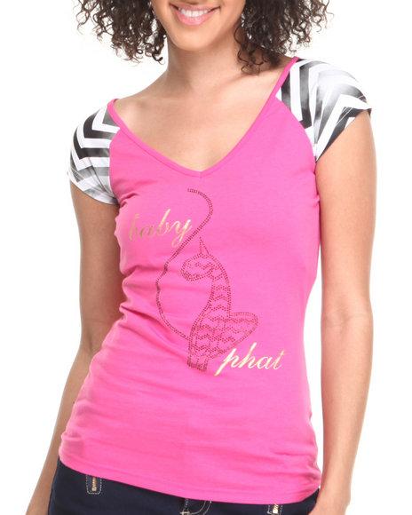 Baby Phat - Women Pink Raglan Sleeve Fabric Mixed Tee - $15.99