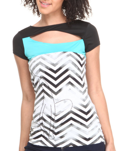 Baby Phat Black,Blue Chevron Print Colorblock Open Back Top