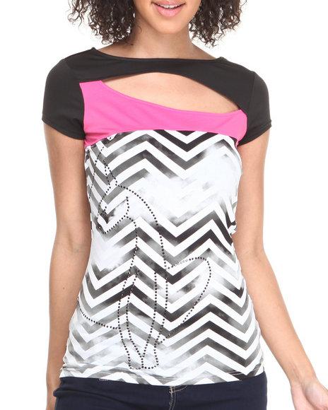 Baby Phat - Women Black,Pink Chevron Print Colorblock Open Back Top