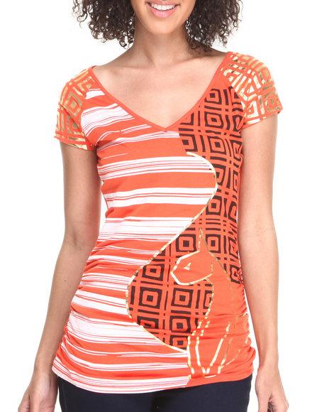 Baby Phat - Women Orange Metallic Studded Shoulder Scoop Tee - $18.99