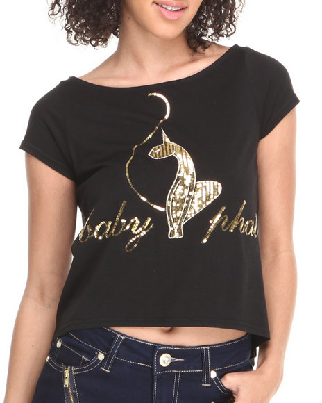 Baby Phat - Women Black Back Zipper Cropped Top