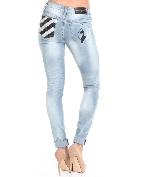 Baby Phat - Women Light Wash Chevron Back Pocket Stones Skinny Jean