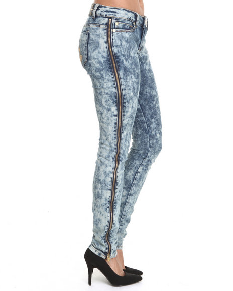 Baby Phat - Women Light Wash Full Side Zipper Acid Skinny Jean