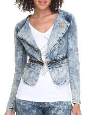 Denim Jackets - Acid Denim Zip Trim Moto Jacket