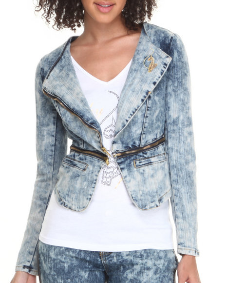 Baby Phat - Women Light Wash Acid Denim Zip Trim Moto Jacket