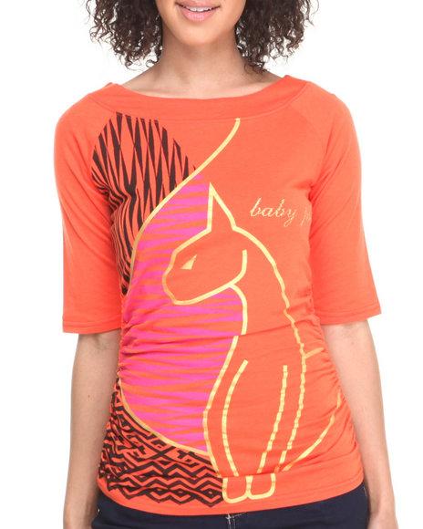 Baby Phat - Women Orange 3/4 Sleeve Off The Shoulder Top - $10.99