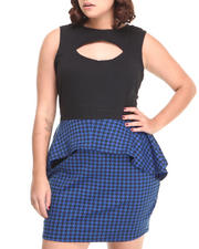 Apple Bottoms - S/L Houndstooth Peplum Dress (Plus)