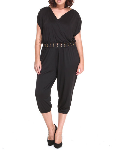 Apple Bottoms - Women Black Studded Waistline Hotness Jumpsuit (Plus) - $45.99