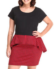 Women - S/S Houndstooth Peplum Dress (Plus)