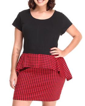 Apple Bottoms - S/S Houndstooth Peplum Dress (Plus)