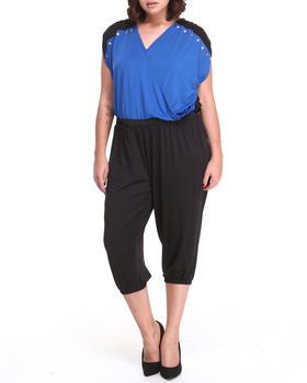 Apple Bottoms - Colorblock Studded Trim Jumpsuit (Plus)