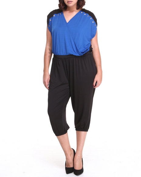 Apple Bottoms - Women Black Colorblock Studded Trim Jumpsuit (Plus)