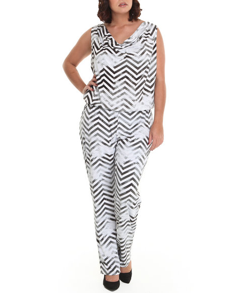 Baby Phat - Women Black, White Mesh Back Jumpsuit (Plus)