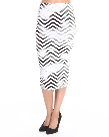 Baby Phat - Women Black,White Chevron Pencil Midi Skirt