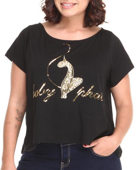 Baby Phat - Women Black Back Zipper Cropped Top (Plus)