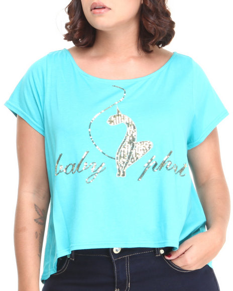 Baby Phat - Women Blue Back Zipper Cropped Top (Plus)