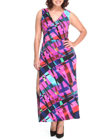 Baby Phat - Women Multi Sexy Back Geo Print Maxi Dress (Plus)