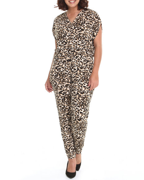 Apple Bottoms - Women Animal Print Leopard Print Jumpsuit (Plus)