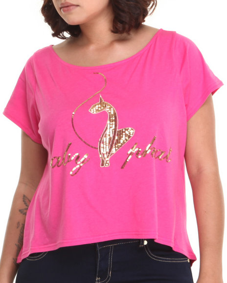Baby Phat - Women Pink Back Zipper Cropped Top (Plus)