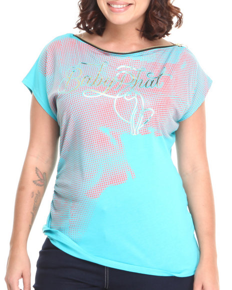 Baby Phat - Women Blue Zip Neck Sleeveless Top (Plus)