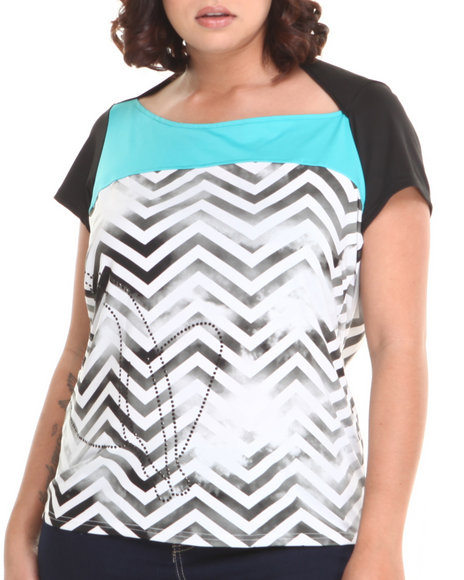 Baby Phat - Women Black,Blue Chevron Print Colorblock Open Back Top (Plus)
