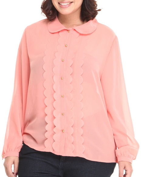 Basic Essentials - Women Pink Peter Pan Collar Style Chiffon Button Down